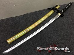 Full Tang Katana Sword 1060 Carbon Steel Synthentic Leather Shiny Gold Saya (9)