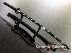Functional Katana Choji Hamon T10 Clay Tempered Steel with Hadori Polish and Black Acid Dye (4)