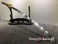 Hand Made Katana T10 Clay Tempered Steel Sythentic Leopard Saya with Shoulder Strap (5)