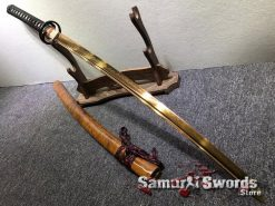 Hand Made Katana T10 Clay Tempered Steel with Gold Acid Dye (1)