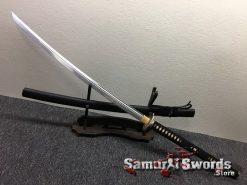Hand Made Nagamaki 1060 Carbon Steel Black Lacquered Hardwood Saya (6)