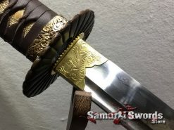 Handmade Wakizashi T10 Folded Clay Tempered Steel Full Black Ray Skin Saya With Buffalo Horn (4)