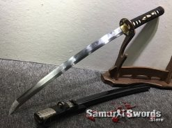 Handmade Wakizashi T10 Folded Clay Tempered Steel Full Black Ray Skin Saya With Buffalo Horn (8)