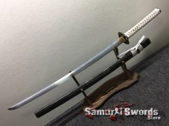 Japanese Katana T10 Folded Clay Tempered Steel Full Black Ray Skin Saya (11)