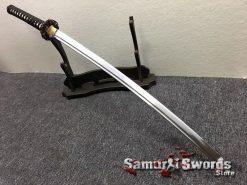 Katana Sword 1060 Carbon Steel Black And White Leopard Resin Saya (1)