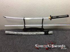 Katana Sword 1060 Carbon Steel Black And White Leopard Resin Saya (3)