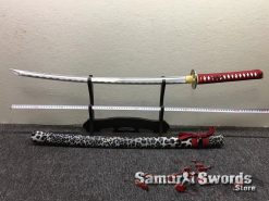 Katana Sword 1060 Carbon Steel Black And White Leopard Resin Saya (5)
