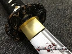 Katana Sword 1060 Carbon Steel Black And White Leopard Resin Saya (6)