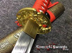 Katana Sword 1060 Carbon Steel Chinese Scroll Work Saya (1)