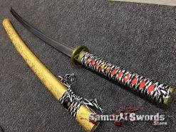 Katana Sword 1060 Carbon Steel Golden Chinese Characters Saya (1)