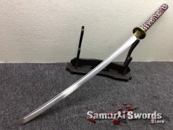 Katana Sword 1060 Carbon Steel Golden Chinese Characters Saya (3)