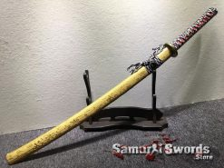 Katana Sword 1060 Carbon Steel Golden Chinese Characters Saya (7)