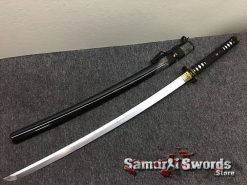 Katana Sword T10 Folded Clay Tempered Steel Full Black Ray Skin Saya With Buffalo Horn (12)