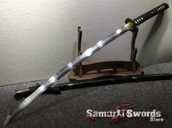 Katana Sword T10 Folded Clay Tempered Steel Full Black Ray Skin Saya With Buffalo Horn (9)