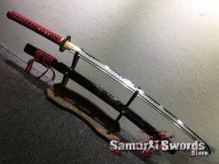 Katana T10 Folded Clay Tempered Steel with Hadori Polish Black Engraved Dragon Saya (13)