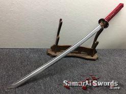 Katana T10 Folded Clay Tempered Steel with Hadori Polish Black Engraved Dragon Saya (2)