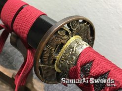 Katana T10 Folded Clay Tempered Steel with Hadori Polish Black Engraved Dragon Saya (3)