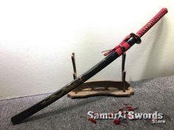 Katana T10 Folded Clay Tempered Steel with Hadori Polish Black Engraved Dragon Saya (9)