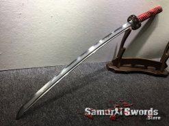Katana T10 Folded Clay Tempered Steel with Hadori Polish Red Rayskin Saya (10)