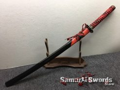 Katana T10 Folded Clay Tempered Steel with Hadori Polish Red Rayskin Saya (12)
