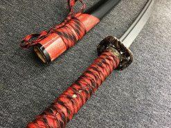 Katana T10 Folded Clay Tempered Steel with Hadori Polish Red Rayskin Saya (5)
