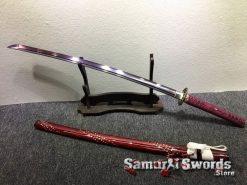 Katana T10 Folded Steel with Purple Acid Dye (5)