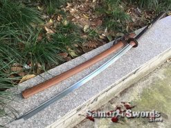 Large Nagamaki Sword 1095 Folded Carbon Steel Rosewood Saya (4)