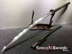 Nagamaki Sword T10 Folded Clay Tempered Steel with Hadori Polish Sythentic Leopard Leather Saya (7)