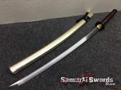 Samurai Katana 1060 Carbon Steel Synthetic Leather Fish Scales Pattern Saya (8)