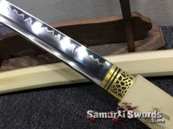 Shirasaya Sword Set Katana & Wakizashi T10 Clay Tempered Steel Hexagon Maple Wood Saya (6)