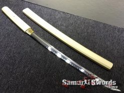 Shirasaya Sword Set Katana & Wakizashi T10 Clay Tempered Steel Hexagon Maple Wood Saya (9)