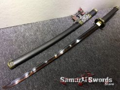 Tachi T10 Clay Tempered Steel with Red acid Dye & Tachi Saya With Metal Fittings (6)