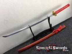 Tactical Katana 9260 Spring Steel Redwood Saya (7)