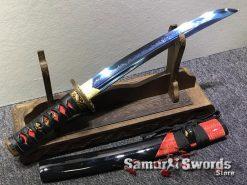 Tanto Choji Hamon T10 Clay Tempered Steel with Hadori Polish and Blue Acid Dye (9)