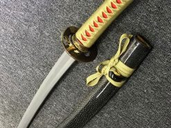Wakizashi Choji Hamon T10 Clay Tempered Steel with Hadori Polish Full Ray Skin Saya with Black Buffalo Horn (3)