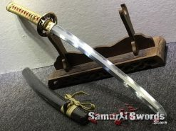 Wakizashi Choji Hamon T10 Clay Tempered Steel with Hadori Polish Full Ray Skin Saya with Black Buffalo Horn (9)
