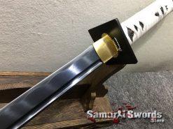 Wakizashi Ninjato 1060 Carbon Steel with Black Acid Dye & Gloss White Saya (4)