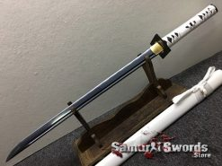 Wakizashi Ninjato 1060 Carbon Steel with Black Acid Dye & Gloss White Saya (7)