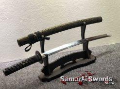 Wakizashi Sword 1095 Folded Steel Synthetic Green Leopard Leather Wood Saya (10)