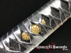 Synthetic Leather Silver Katana Handle